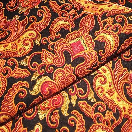 Batik Javanais, Noir, Or et Rouge. 100% Coton.