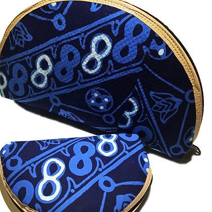 """Pochette Batik Gigogne """"demi lune"""" bleue"""