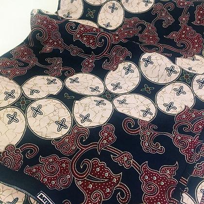 Batik Javanais Bleu, Rouge et Blanc, motifs Floraux & Géométriques. 100% Coton.
