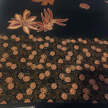 Batik Javanais Noir, motifs Floraux. 100% Coton