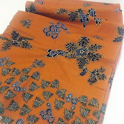 Batik Javanais Orange, motifs Floraux. 100% Coton