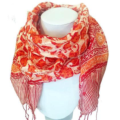 Foulard rouge en Soie, imprimé main