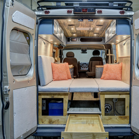 van interior from back storage drawer