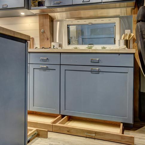 van interior kitchen storage drawers