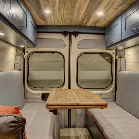 van interior with window shades