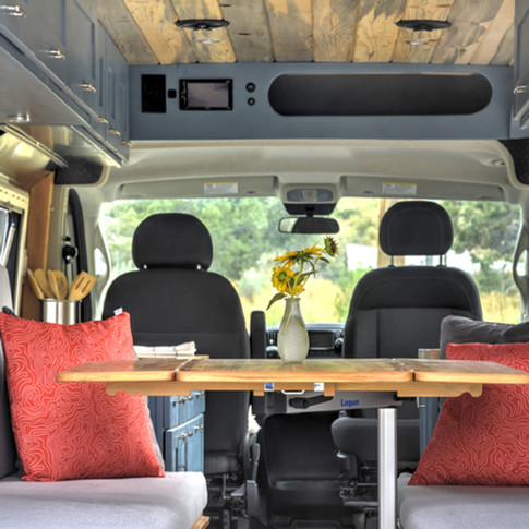 van interior table out