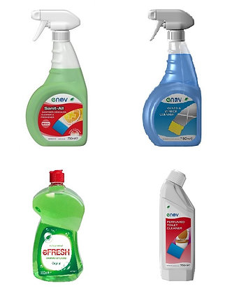 Clean Kit Sanitiser Spray, Glass/Window Cleaner, Toilet Cleaner, Washing Liquid