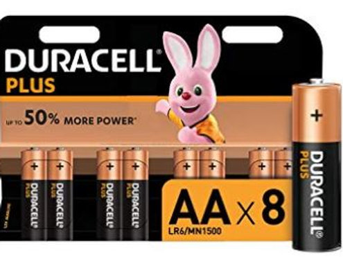 Duracell Plus AA Alkaline Batteries, 1.5 V LR06 MX1500, Pack of 8