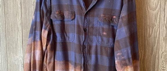 Indigo Plaid Acid Washed Flannel