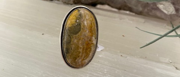 Bumble Bee Jasper Ring Size 6