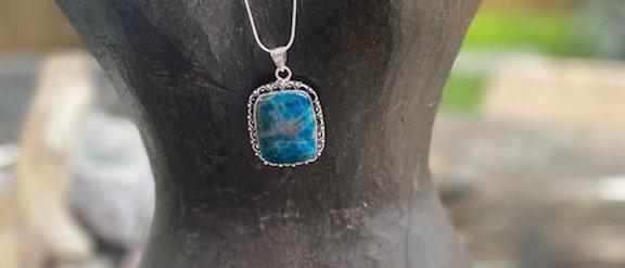 Blue Apatite Pendant Necklace