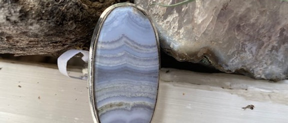 Blue Crazy Lace Agate Ring Size 8