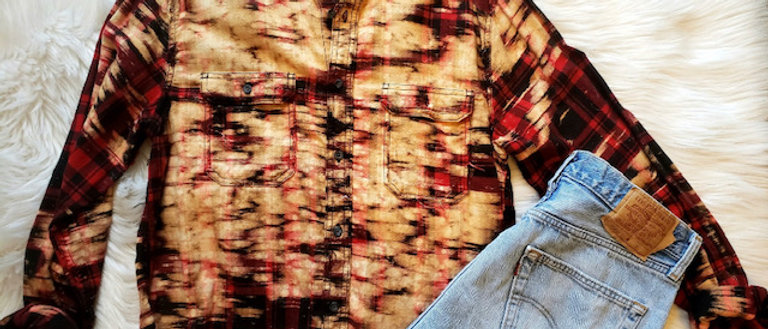 Red Black Plaid Cropped Uber Distressed Flannel