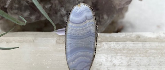 Blue Crazy Lace Agate Ring Size 7