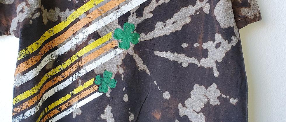 Vintage Tie Dye SHAMROCK STRIPES Shirt-Large