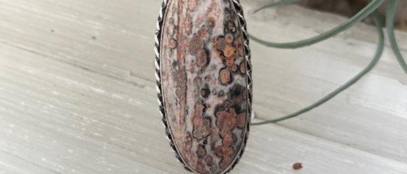 Leopard Skin Jasper Ring Size 7.5