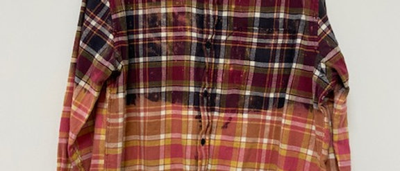 Pink/Navy Plaid Cropped Uber Distressed Flannel
