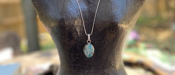 Crazy Lace Agate Pendant Necklace
