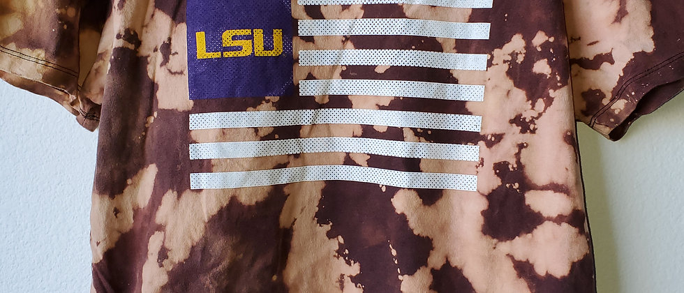 Vintage Tie Dye LSU FLAG Shirt-Large