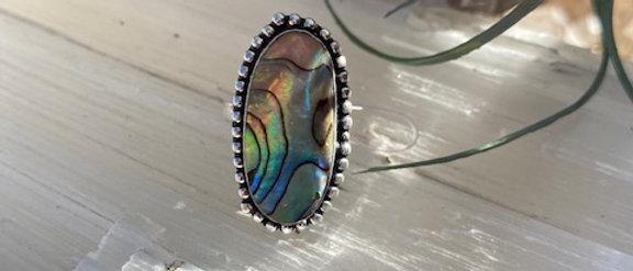 Abalone Shell Ring Size 6