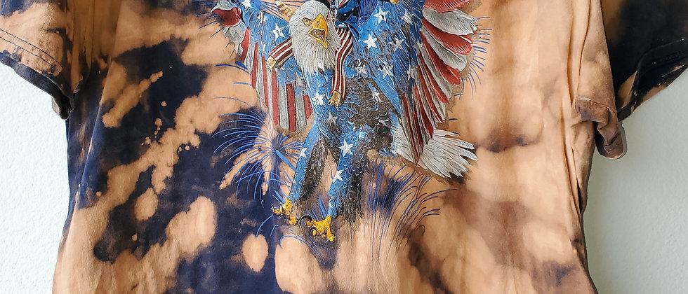 Vintage Tie Dye FREEDOM CAT Shirt-2XL