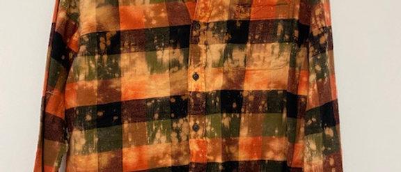 Orange Plaid Cropped Uber Distressed Flannel