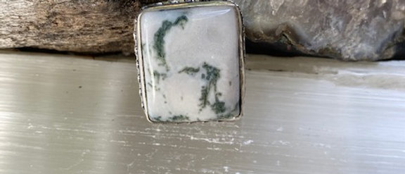 Moss Agate Ring Size 8.5
