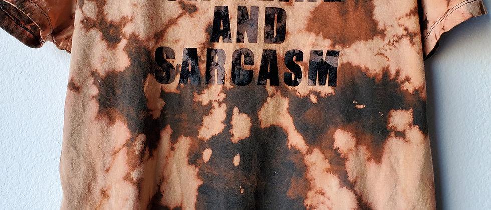 Vintage Tie Dye CAFFEINE & SARCASM-Shirt-Medium