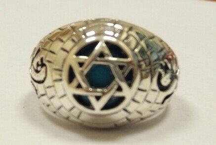 """טבעת כסף עם """"מגן דוד"""" ואריות"""