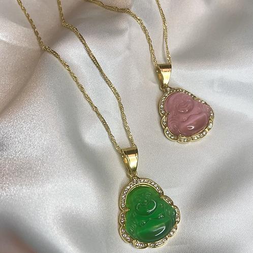 Jade Crystal Buddha Necklace