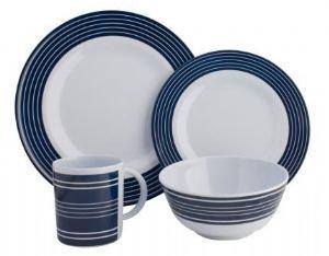 NAVY PINSTRIPE 16 PIECE DINNER SET
