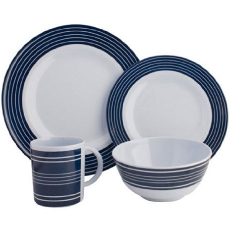 Navy Pinstripe 16pc Dinner Set