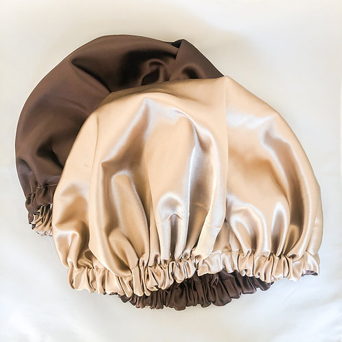 Satin Bonnet (Brown and tan)