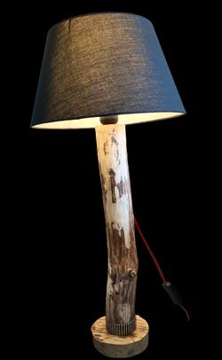 Lampe Bois flotté et engrenage