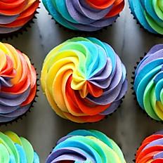6 Rainbow Cupcakes