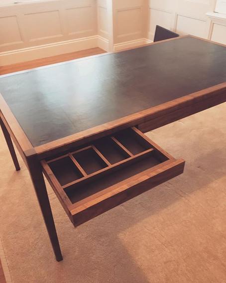 Custom Walnut Desk with Leather Inlay