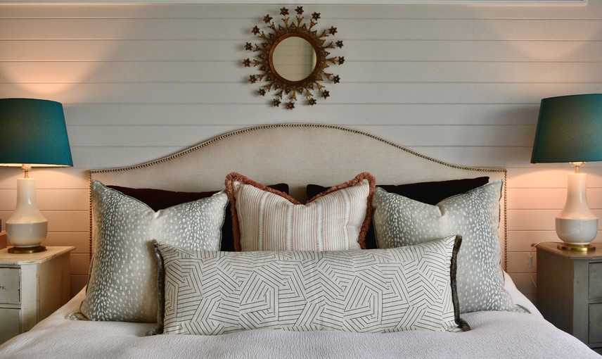 Master Bedroom-  Custom Cushions & Bedhead with a  Antique Mirror