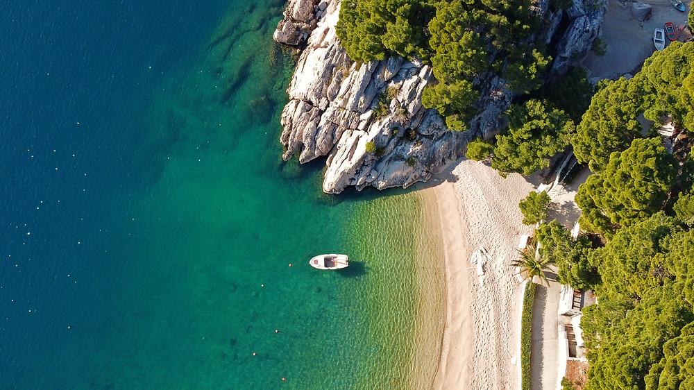 Beautiful beach in Brela for your vacation in Makarska Riviera, Croatia.