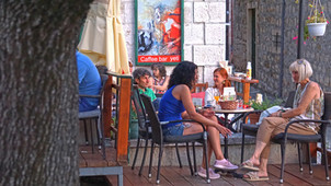 People relaxing in cafe bar Yeti in Makarska