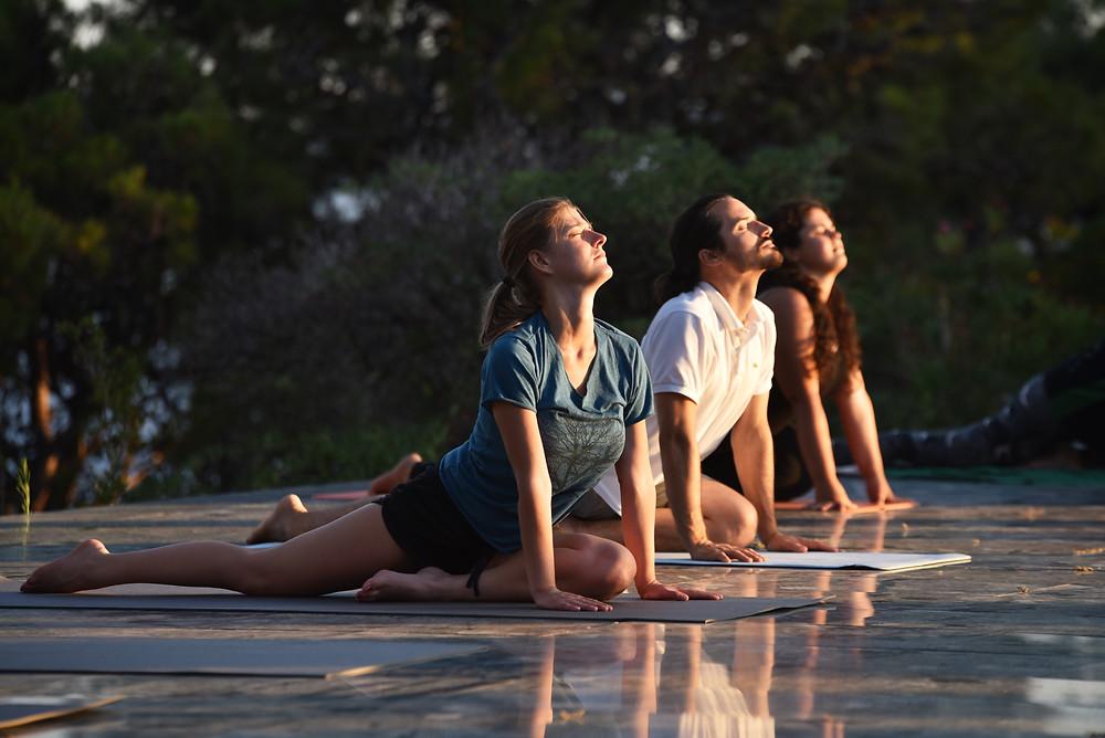 Outdoor yoga class in Podgora near Makarska