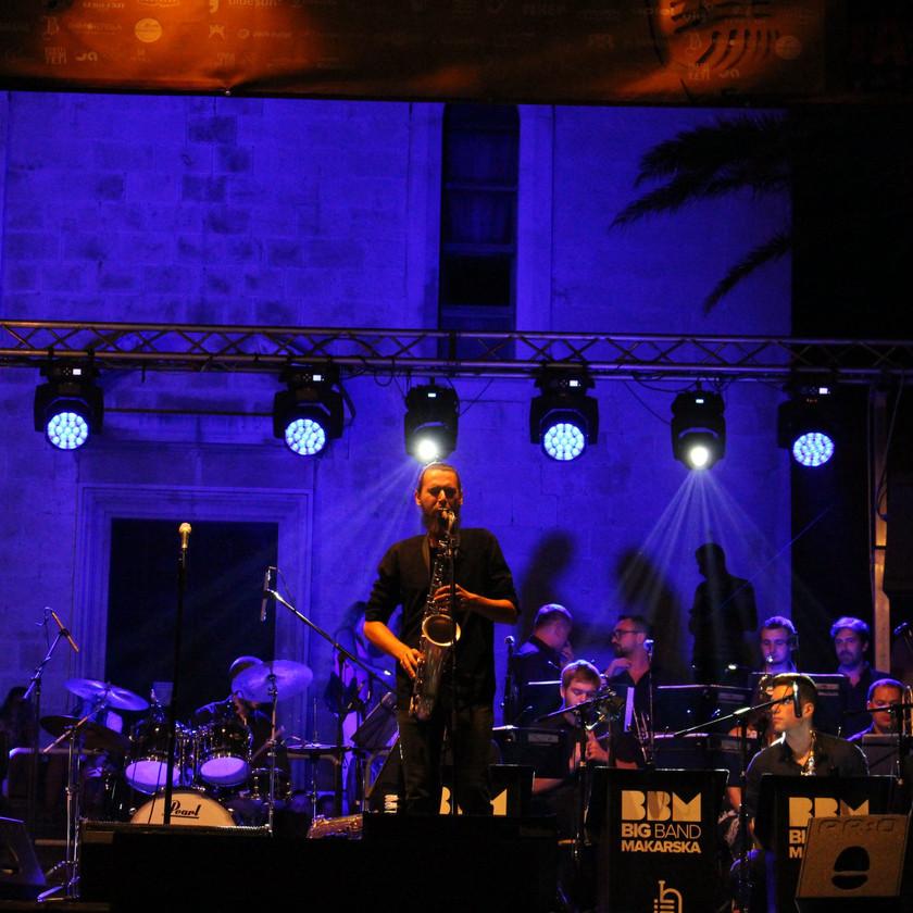 Saxophonist performing a solo at Makarska Jazz Festival