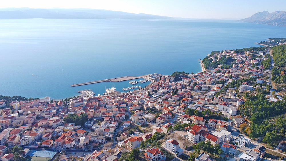 Baska Voda from above, drone footage of coastal Croatia