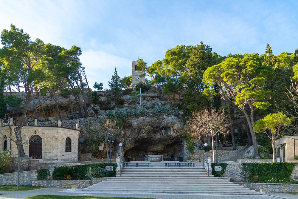 Vepric sanctuary near Makarska in Croatia resembles Lourdes in France beacuse of its natural cave setting