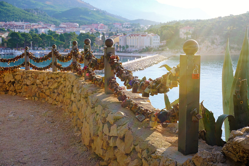 Love locks at St Peter's peninsula in Makarska, Croatia are a way to forever remember summer love