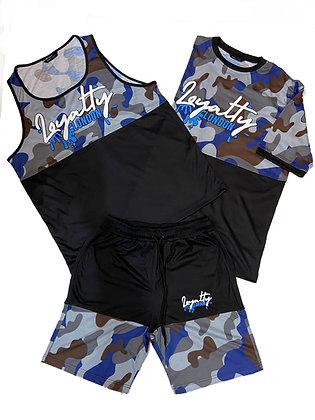 Navy Blue Splash Wear Camo Short Set