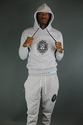 Grey Hoodie Embroidery Tracksuit