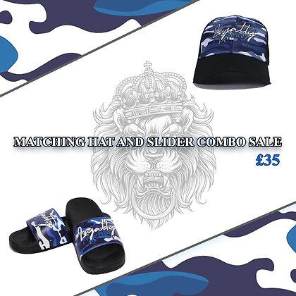 Sky Blue Navy Camo Splash Wear Baseball Caps & Camo Print Splash Wear Sliders