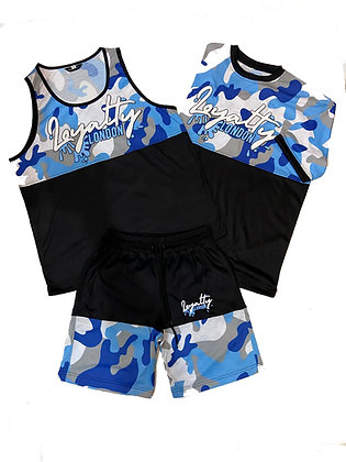 Baby Blue Splash Wear Camo Short Set