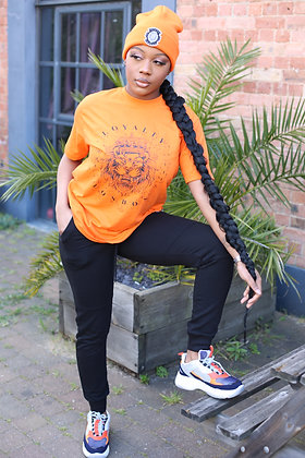 Women's Orange Splash Print T-shirts & Beenie Hat Combo