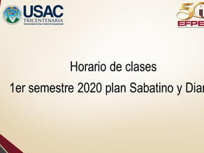 Horario de clases 1er semestre  2,020 plan Sabatino y plan Diario.
